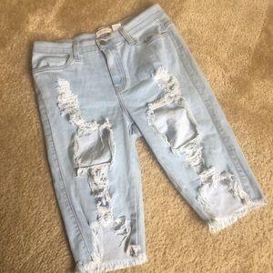 Light Wash Denim Cutoff Distressed Bermuda Shorts